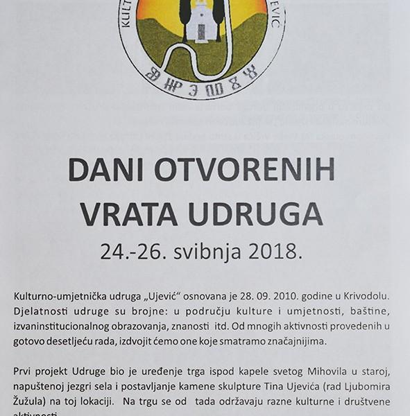 DANI OTVORENIH VRATA UDRUGA 24.-26. svibnja 2018.